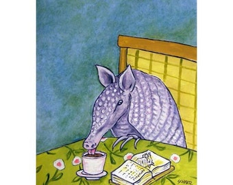Aarmadillo at the Coffee Shop Art Print