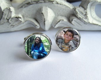 Mens Cufflinks, Custom Photo Cufflinks, Keepsakes, Groom Cufflinks