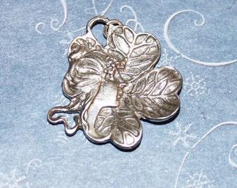 Leafy Nature Goddess Sterling Silver Pendant GH081