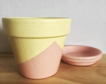 REDUCED PRICE // Hand Painted Plant Pot // Pink and Yellow