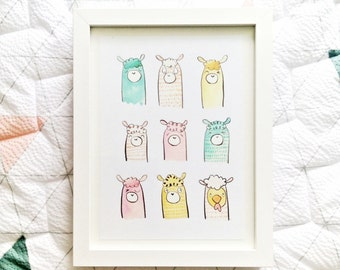 Llama Love A5 Art Print - Cute Children's Illustration