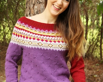 handknitted jumper, pullover, knitted sweater,womens knitted jumper,knitted sweater,fair isle yoke sweater,colorful yoke, wool