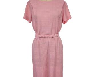 Vintage 1960s Dress / Vintage 60s Pink Shift Dress / 60s Rope Belted Dress