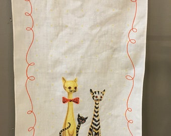 Linen Cat Tea Towel, Cat Lover Collectible, Siamese Cat Linen Towel, Tabby Cat, Vintage Linen Tea Towel