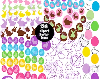 Easter Clipart, Bunny Clipart, Easter Egg Clipart, Easter Bunny Clipart, Easter Icon Clipart, Commercial use, AMB-1822