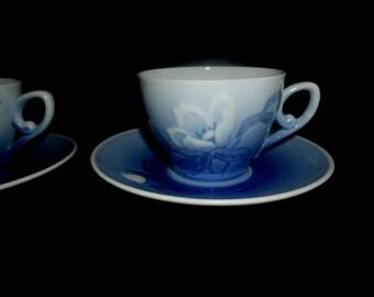 Vintage B & G Copenhagen Tea Cup Set~Danish Tea Cups and Saucers~Made in Denmark~Dainty Tea Cups with Roses~Housewarming Gift~VintageDanish