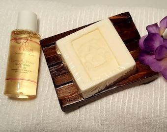 Spa Gift Set, Cedar Soap Dish, Rustic Soap Dish,  Wooden Soap Dish,  Aromatherapy Gift Set, Soap Dish Gift Set