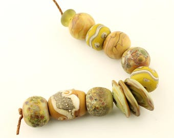 Lampwork Beads Set Organic, Etched Matte Glass, Green,  Gold, Brown, Ivory