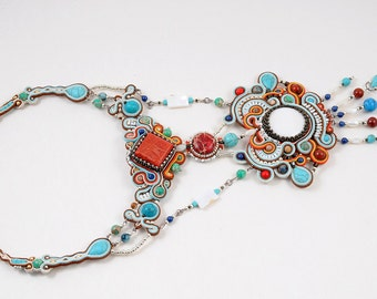 "Sale 30% off! FREE SHIPPING!!! Colorful soutache necklace ""SCHEHERAZADE"""