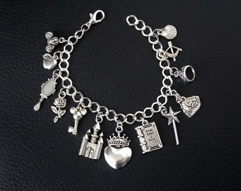 Disney Princess Charm Bracelet Disney Inspired Jewelry Silver Princess Charm Cinderella Snow White Belle Ariel Merida Disneybound Girl Gift