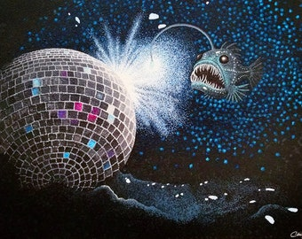 Fine Art Print of Pointillism Painting: Deep Sea Disco(very) by Christie A. Thompson