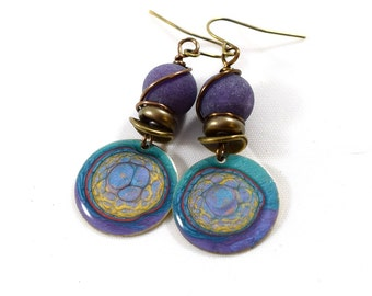 Handmade Earrings, Paint and Resin Earrings, Purple Earrings, Swirl Earrings, Brass Earrings, Artisan Earrings, Boho Earrings, Unique, AE204