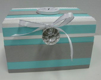 Wedding Recipe Box with Monogram Plaque-Tourquoise Blue and Gray