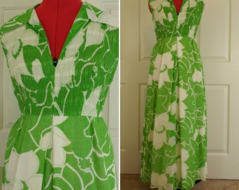 1960s Green & White Floral Maxi Dress Size S