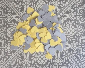 Gray And Yellow Confetti Hearts Table Confetti Tags Die Cuts