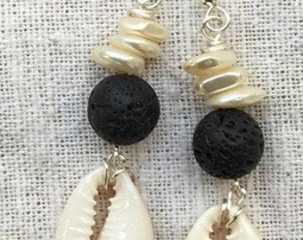 Cowrie shell earrings, seashell earrings, beachy earrings, long shell earrings, seashell jewelry, ocean earrings, lava rock, lava earrings