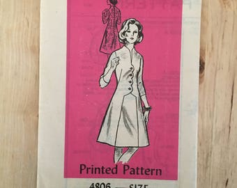 """Vintage 1960's mail order pattern 4806 with faux wrap front and zipper back with 4 sleeve lengths uncut Size 12 Bust 34"""""""