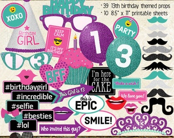 Photo Booth Props, HAPPY 13TH BIRTHDAY, girl, party, printable sheets, instant download, purple, pink, teal, turquoise,