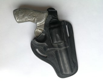 Custom made holster for 4 Inch revolvers, pancake style, Belt Holster, Owb Leather, Smith Wesson 38. & 357 Magnum