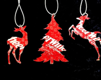Recycled Cheerwine Soda Can 3-Piece Christmas Ornament Set