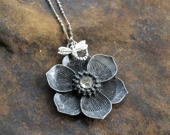 Rhinestone Flower Pendant with Dragonfly Charm Vintage Handmade