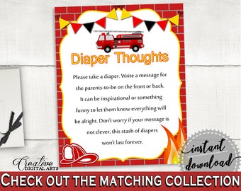 Diaper Thoughts Baby Shower Diaper Thoughts Fireman Baby Shower Diaper Thoughts Red Yellow Baby Shower Fireman Diaper Thoughts digital LUWX6
