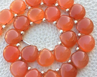 4 Matched Pair, NATURAL PEACH MOONSTONE Smooth Heart Shape Briolettes, 10x10mm size.Superb Item at Low Price