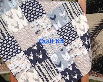 Woodland Quilt Kit, Woodland Nursery Bedding, Grey and Navy Quilt Kit, Deer Quilt Kit- QK-1