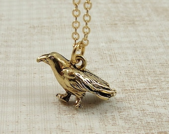 Crow Necklace, Gold Crow Raven Charm on a Gold Cable Chain