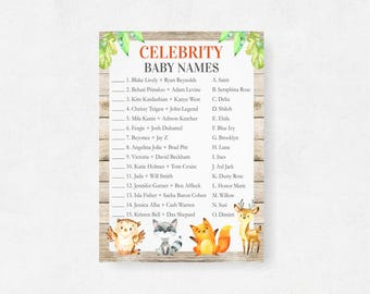 Woodland Celebrity Baby Names, Woodland Baby Shower Game, Forest Themed Sprinkle, Outdoor, Wild Jungle, Printable Games, WD Instant Download