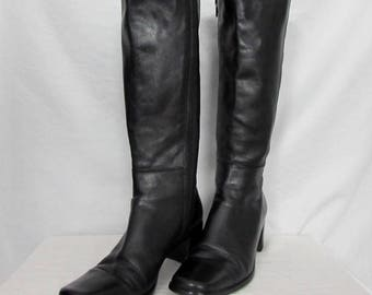 Lavorazione Artigiana Black Leather Boots Mid Calf Side Zippered sz 38 - 7 USA