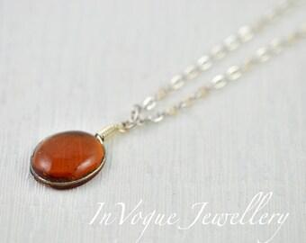 Simple Oval Topaz Necklace, Topaz Glass Pendant Necklace Old Vintage Ethnic Style Necklace, Topaz Silver Chain Oval Charm Necklace Jewellery