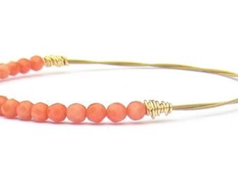 Beaded Bangle Bracelet // Eco-Friendly Jewelry // Coral Gemstones Gold Bracelet // Bridesmaid Gift // Wedding Jewelry / Beaded Bracelet Gift