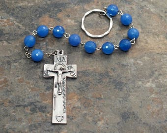 Irish Penal Chaplet in Blue Agate Gemstone, Irish Penal Rosary, Finger Rosary, 1 Decade Chaplet, Single Decade Rosary, Catholic Chaplet