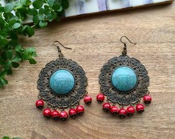 Red & Emerald Statement Earrings Dangle earrings Red Chandelier Earrings Bohemian Earrings Tribal earrings Red Jewelry Gift for Girlfriend