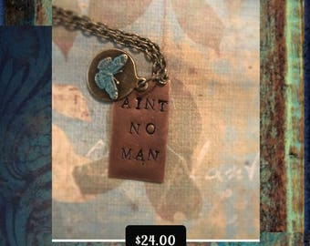 Avett Brothers Aint No Man Necklace with Hand Painted Butterfly