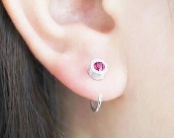 Silver Hoop Earrings, Red Sapphire, Silver Hoops, Silver Earrings, Huggies, Birthstone, Stud Hoop Earrings, Red Stone, Silver Jewelry Gifts