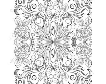 Adult coloring page, kaleidoscope, flower, butterfly, swirl, carnation, olives, leaf, floral.  Spring Flowers. PDF