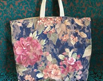 Blue and Pink Floral Bag