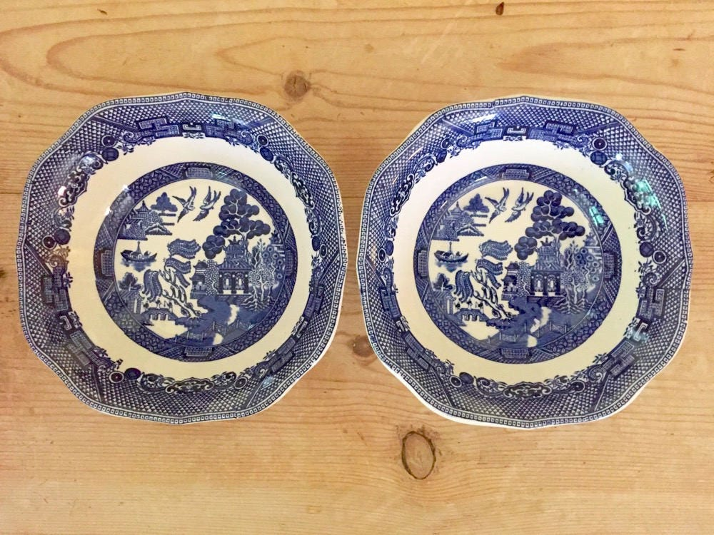 Johnson Brothers Blue Willow Cereal Bowls Set of 2 Square Scalloped Rim Blue White Asiatic Themed China Vintage Blue Willow Bowls & Johnson Brothers Blue Willow Cereal Bowls Set of 2 Square ...