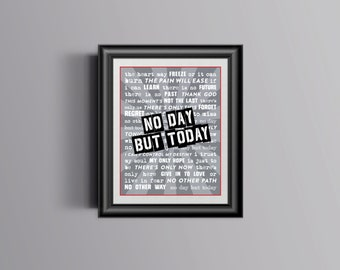 Broadway RENT Lyrics Poster / Print - No Day But Today