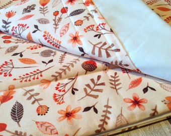 Baby Crib / Moses Basket Coverlet, Woodland / Peach Baby Bedding, New Baby Gift, Baby Shower Gift, Baby Girl Gift