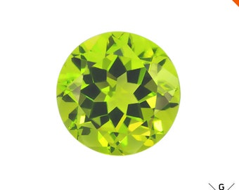 Peridot stone 1.50ct. Brilliant! Natural Top Neon green Peridot unheated Loose Gemstone Lustrous Peridot faceted crystal Round Cut for Ring