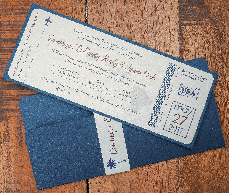 Ticket für Paradies-Hochzeits-Einladung Ticket für Hawaii