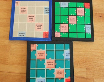 Scrabble Board Coasters,Upcycled Scrabble,Board Game,Scrabble Board,Recycle Scrabble,Drinks Coaster,Novelty Coasters,Set of Coasters