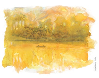 Onion River Giclee Fine Art Print of Original Watercolor  Painting
