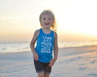 Saltwater Gospel Racerback Tank Top Teal Aqua Shirt -- Kids, Girls Toddler, Baby, Pink Black, White Bright Neon Spring Beach Vacation