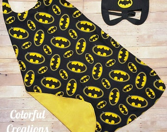 Superhero Cape and Mask, kids cape, birthday party, boys dress up,  character dress up, batman cape, Spiderman cape, iron man cape,halloween