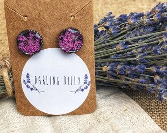Floral burst stud earrings (pink)