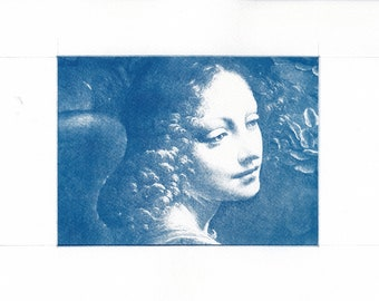 Cyanotype print, Angel, Leonardo da Vinci, Art Print, Wall Art, Wall Decor, Religous Art, A4 size FREE INTERNATIONAL SHIPPING